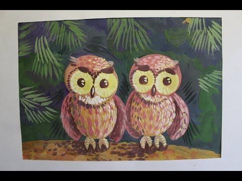Как нарисовать сову. Поэтапное рисование. Видео урок для детей 6-8 лет.
