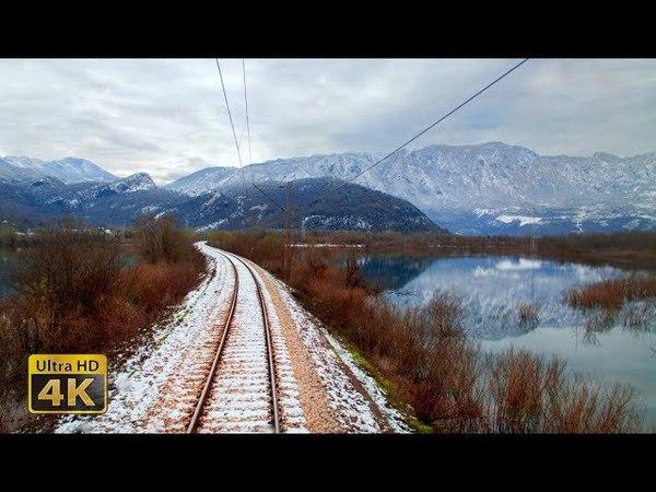 4K CABVIEW Bijelo Polje - Bar - Winter ride from snowy mountains to Adriatic Sea coast