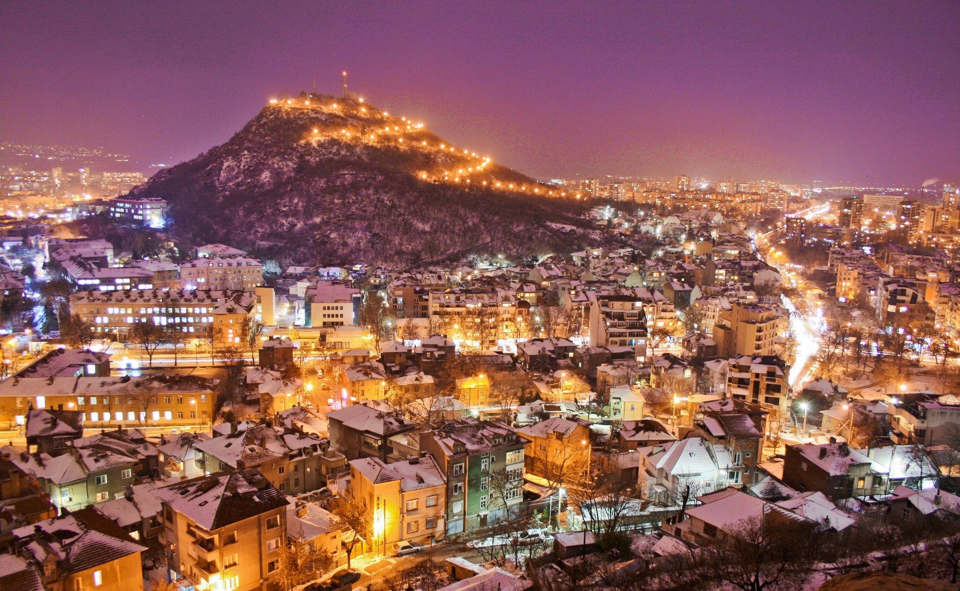 Панорамный вид города Пловдив зимой