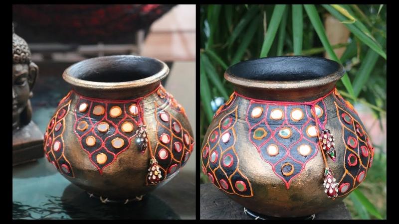 DIY amazing decorative pot /matki decoration/ pot decoration ideas