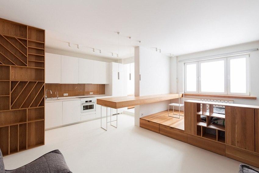 Минималистичный дизайн студии 40 м в Москве от компании Ruetemple.