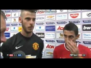 Manchester United 2 Everton 1 post match interview Di Maria and David De Gea
