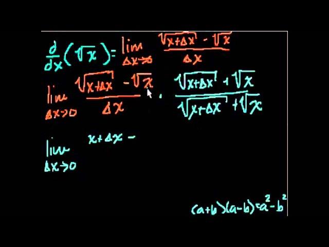 Доказательство производной dy/dx(sqrt(x))