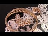 Прелестный комплект: Кулон с цепочкой, браслет, сережки и кольцо с фианитами, покрытые золотом