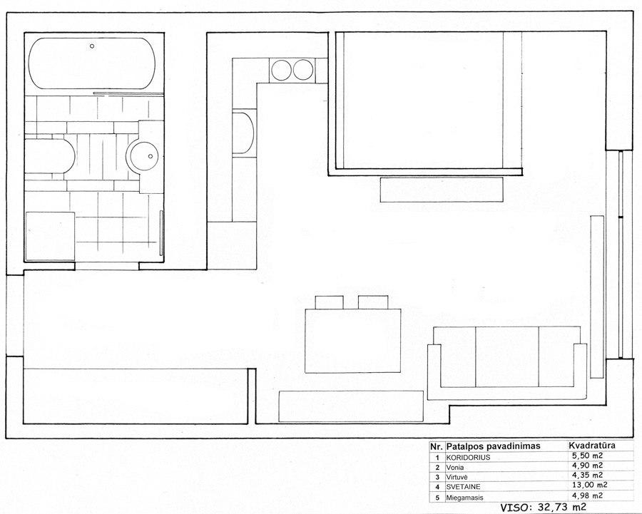 Квадратная студия 32,7 м со спальным альковом, дизайнер Аудроне Амбразиене, Литва.