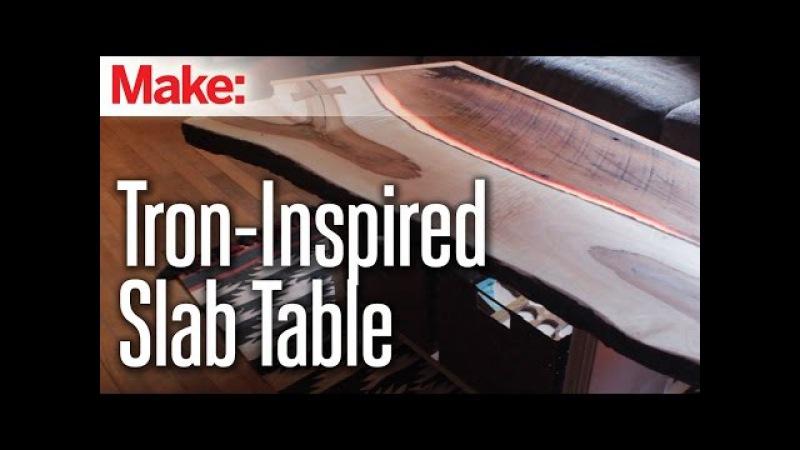 Tron-Inspired LED Slab Table