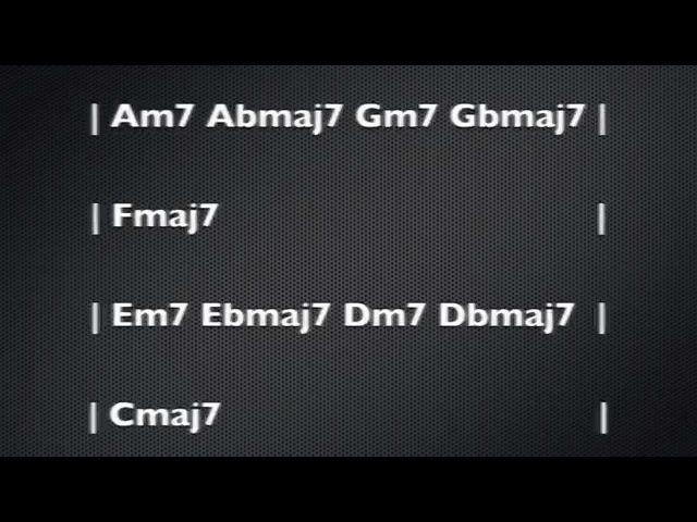 Fusion Jam Track Minor 7 to Maj 7 Smooth Groove Modal Progression Ionian Lydian Dorian