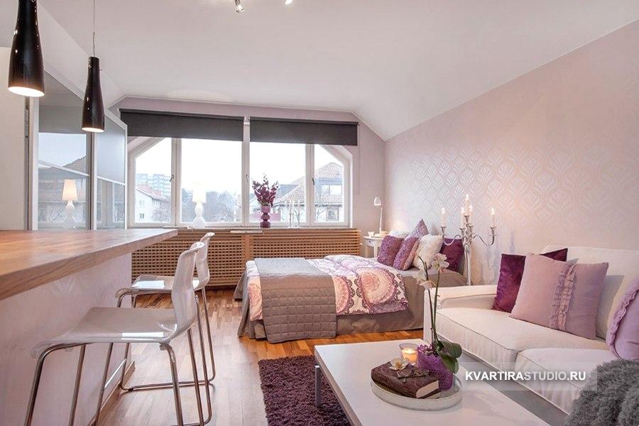 Нежный интерьер мансардной квартиры 33 м в Стокгольме / Швеция - http://kvartirastudio.
