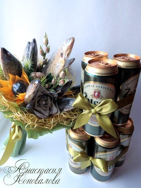 Как оформить подарок пиво с рыбой
