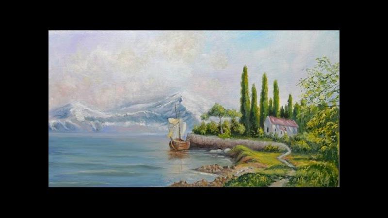 Урок живописи Таинственный остров Art tutorial / Lanscape 'Mysterious Island'