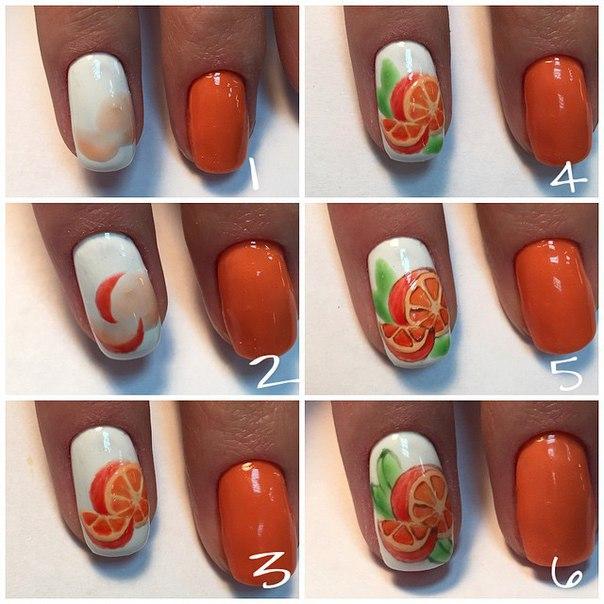 Апельсин на ногтях пошагово фото