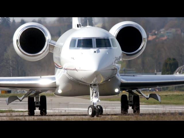 Gulfstream G650 JCB Landing Take Off at Bern Airport