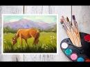 Как нарисовать лошадь! Пишем картину маслом Лошадь на лугу! Dari_Art