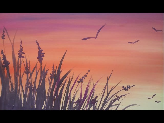 Закат и травка [Картина за 3 минуты!]
