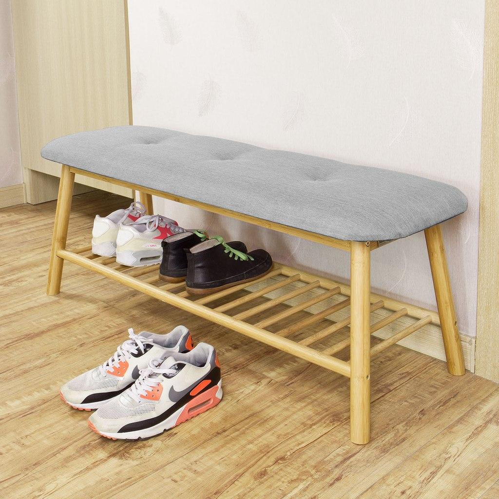 Zapatero banco estanter a de madera con cojines asiento for Bancos zapateros de madera