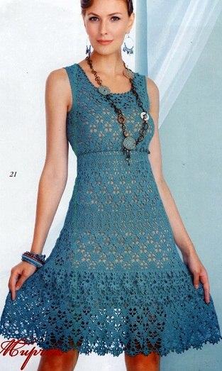 Синее платье крючком (5 фото) - картинка