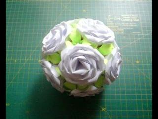 Как Сделать Цветочный Шар Из Бумаги Своими Руками. Розы На Кусудаме Электра