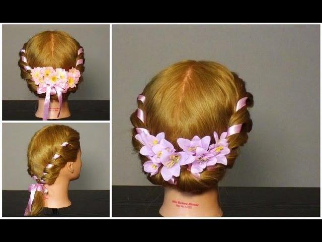 Прическа плетение с лентой. Romantic hairstyles for medium hair tutorial
