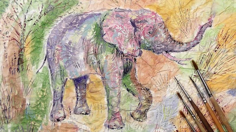 Быстрое Рисование | Слон | Мятая Бумага | Акварель