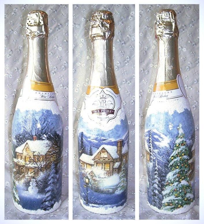 Декупаж бутылок своими руками к новому году мастер класс