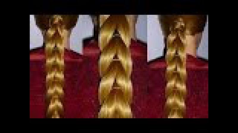Объемная коса с помощью резинок без плетения.