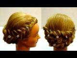 Прическа с плетением на средние волосы. Косы. Braid hairstyle for medium hair