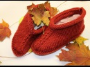 Knitted slippers for beginners Вязаные тапочки
