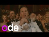 Oscars 2015: Benedict Cumberbatch swigs whisky and John Travolta pronounces Idina Menzel