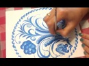 Роспись открытки под Гжель. Hand Painted Card. Imitation of Gzhel.