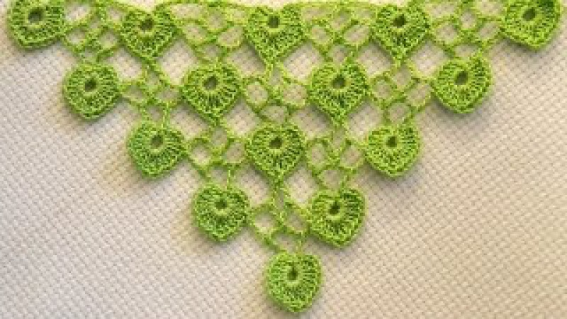 ♥ Бактус мини шаль с листочками сердечками МК Узор для вязания крючком