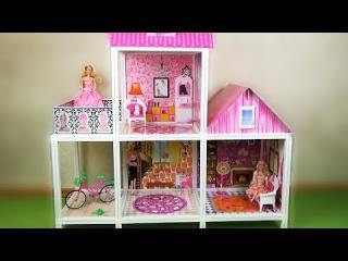 Домик для барби. Двухэтажный с куклами Одесса игрушки