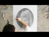 Girl With a Pearl Earring Circle Drawing by Chan Hwee Chong