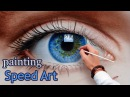 Speed Painting an Eye in oil dry brush realistic How To Draw