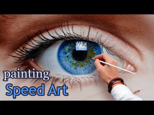 Speed Painting an Eye in oil dry brush/ realistic (How To Draw)