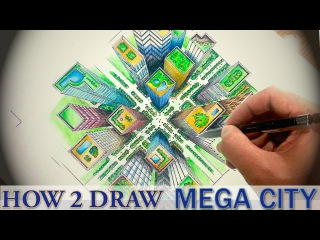 How To Draw ✎ A City From Above - 1 Point Perspective