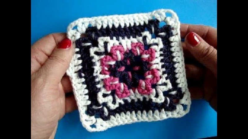 Вязание крючком Урок250 Квадратный мотив Crochet granny square
