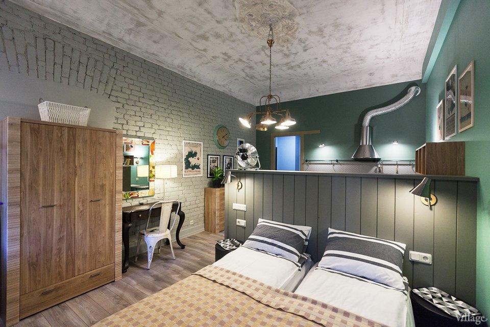 Апартаменты (зеленая студия) порядка 30 м в хостеле Gogol Mogol, Санкт-Петербург.
