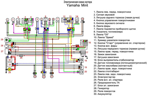 схема проводки yamaha dt-1