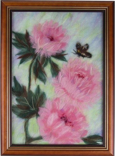 Картина из шерсти пионы от 2 500 руб