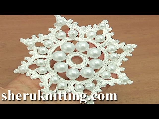 Crochet Snowflake Ornament With Beads Tutorial 19