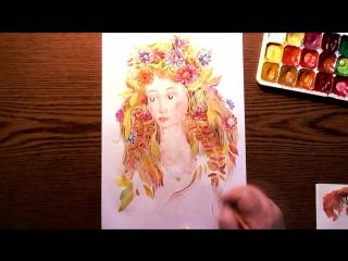 Быстрое Рисование | Её Зовут Осень | Акварель