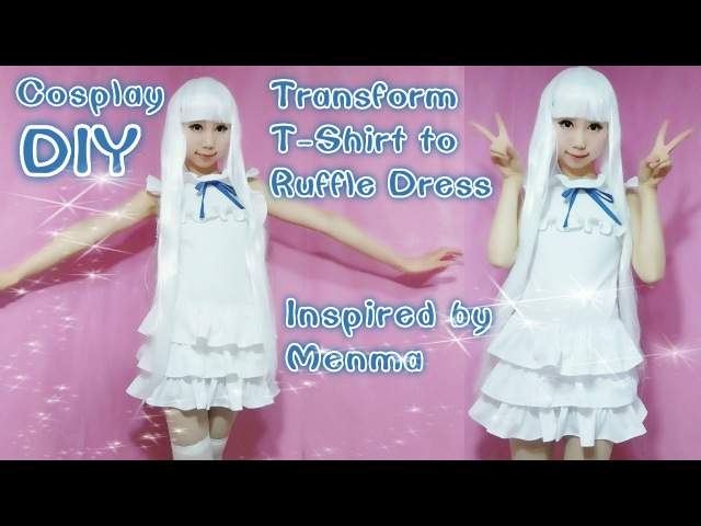 DIY Transform your T Shirt to Ruffle Dress Inspired by Anime Menma