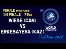1/8 finals - Female Wrestling 75 kg - E WIEBE (CAN) vs G ERKEBAYEVA (KAZ) - Tashkent 2014