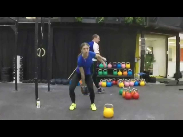 Ksenia Dedyukhina, 24 kg snatch slow motion side and front
