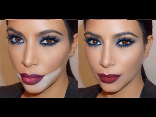 Синий дымчатый макияж. Макияж Kim Kardashian