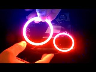 Сверх яркие кольца на маску для линз LED COB 80mm RGBПульт, Комплект 2 шт3