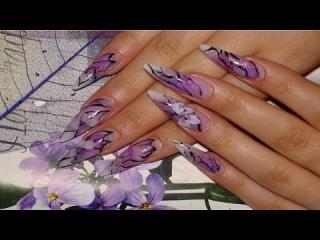 Дизайн ногтей .  Дизайн нарощенных ногтей . Модный  маникюр