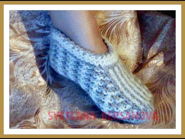 Двухцветные следки, связанные спицами, Two-colored socks, knitted with needles