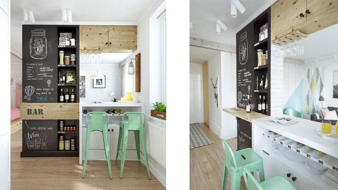 Дизайн-проект квартиры 45 м от студии INT2 architecture, Москва.