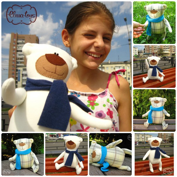Белый мишка Frozzy ждет свою мамочку. Кашемир, фетр на мордочке и флисовый шарфик…. (1 фото) - картинка